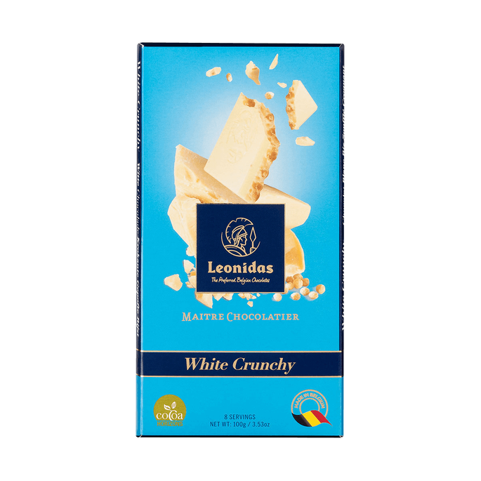 Leonidas White Chocolate and Puffed Rice Bar, 5 x 100 g