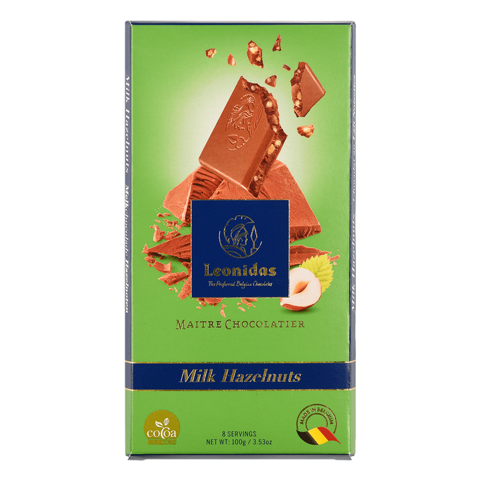 Leonidas Tablet Milk Chocolate & Hazelnuts, 5 x 100 g