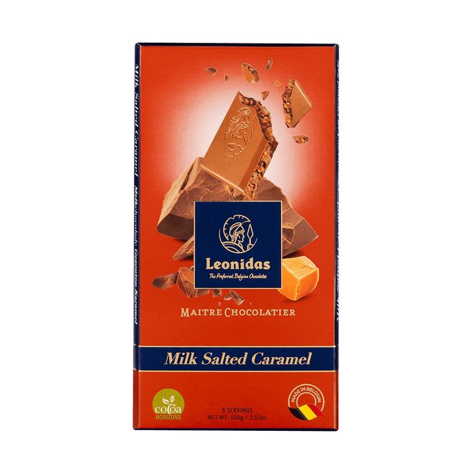 Leonidas 30% Milk Chocolate and Salted Caramel Tablet, 5 x 100 g