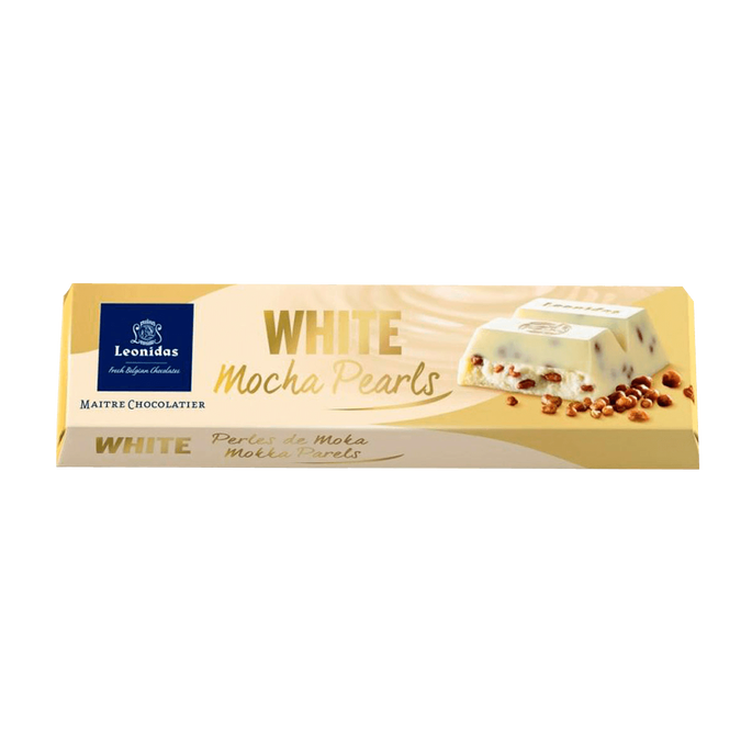Leonidas White Chocolate and Mocha Pearls Bar