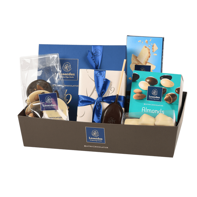 Leonidas Chocolates Blue Gift Basket